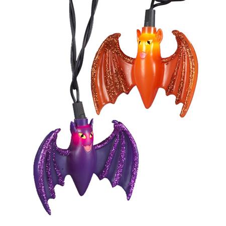 Bat String Light Set 10/L Purple/Orange