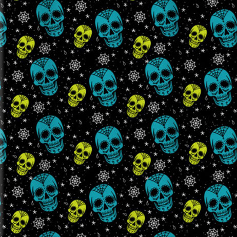 Blue And Green Skull Shower Curtain
