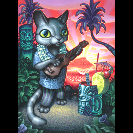 Brad Tiki Shark Parker  Tiki Cat Print