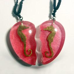 Double Sea Horse Heart Necklaces (Set)