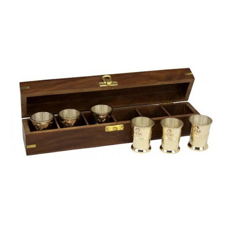 Brass Anchor Shot Glasses In Box