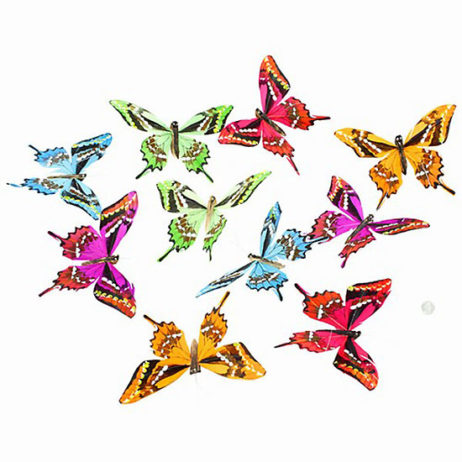 Butterfly Garland Spring Colors Grn/Bl/Prp
