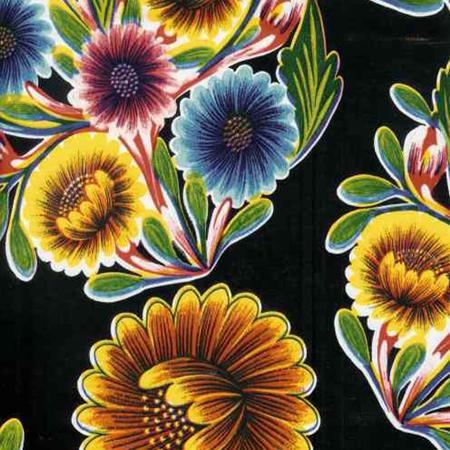 Bloom Black Print Oil Cloth