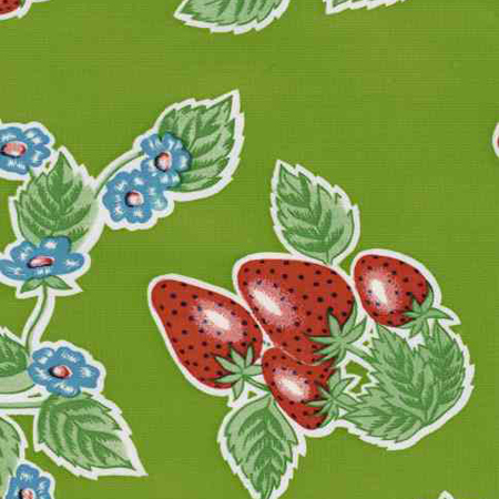 Strawberry Lime Green Oil Cloth