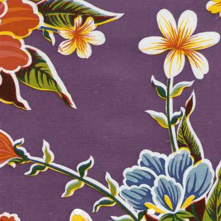 Hibiscus Purple Print Oil Cloth