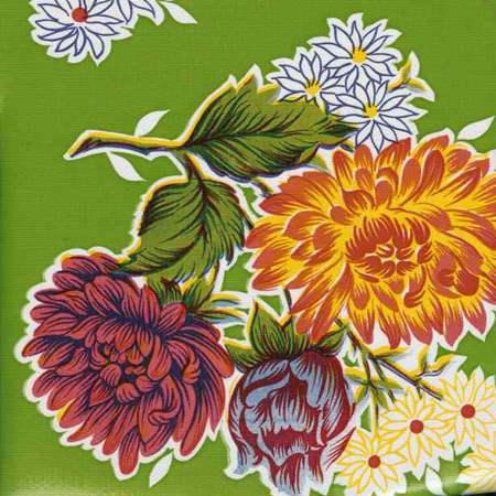 Green Mums Flowers Oil Cloth