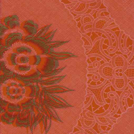 Katia Red Lace Print Oil Cloth